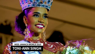 Toni-Ann sings her way into the top 40 0f Miss World